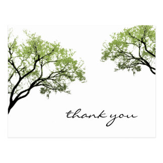 Carte postale de silhouette d'arbres de ressort