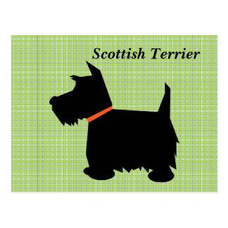 Carte postale de silhouette de noir de chien de Te