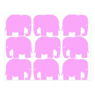 Carte postale de silhouette d'éléphants roses