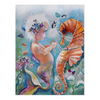 Carte postale de sirène de bébé et d'hippocampe