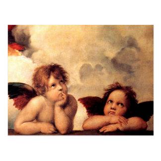 Carte postale de Sistine Madonna d'anges de Raphae