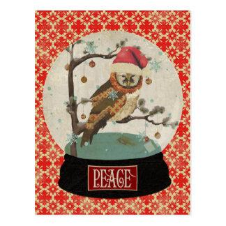 Carte postale de Snowglobe de hibou de mamans