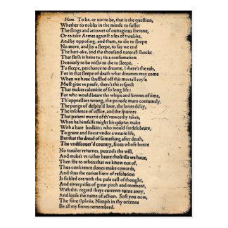 Carte postale de soliloque de Shakespeare Hamlet