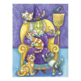 Carte postale de sorcière de Halloween