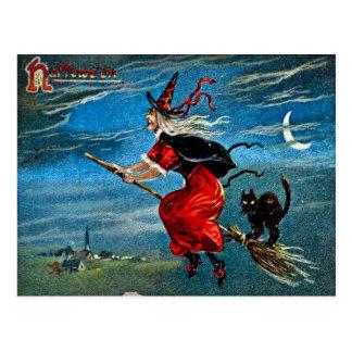 Carte postale de sorcière de Hallowe'en