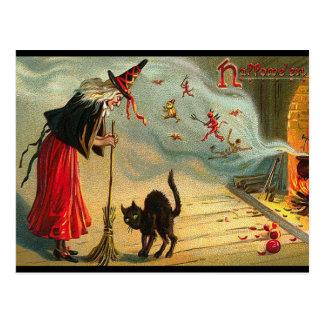 Carte postale de sorcière de Halloween, chat noir,