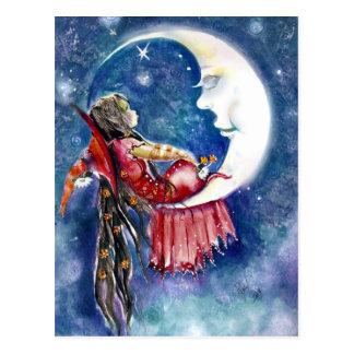 Carte postale de sorcière et de lune