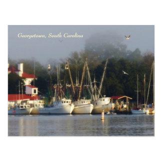Carte postale de souvenir de bateaux de crevette