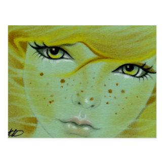 Carte postale de taches de rousseur de visage de