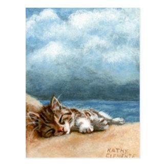 Carte postale de tempête de plage de chaton