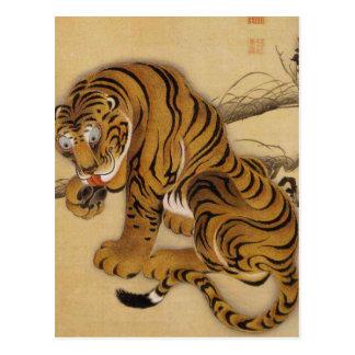 Carte postale de tigre d'Ito Jakuchu