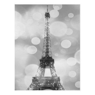 Carte postale de Tour Eiffel, noir et blanc,