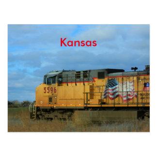 CARTE POSTALE de train de pays du Kansas