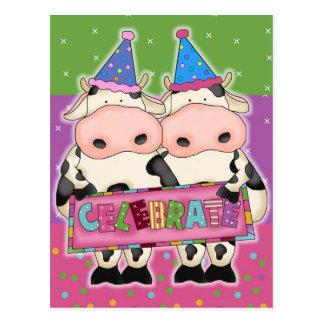 Carte postale de vache à anniversaire
