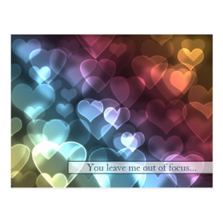 Carte postale de Valentine de coeurs de Bokeh