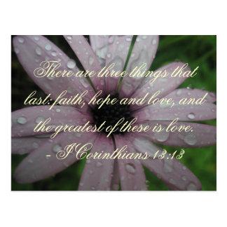 Carte postale de vers de bible d'espoir et d'amour