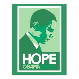 Carte postale de vert d'espoir d'Obama