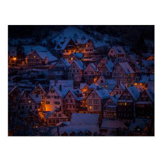 carte postale de village d'hiver