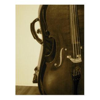 Carte postale de violoncelle de sépia