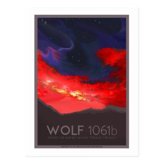 Carte postale de voyage dans l'espace - loup 1061b