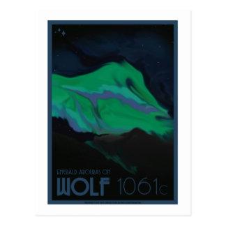 Carte postale de voyage dans l'espace - loup 1061c