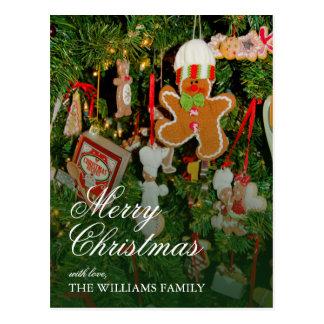 Carte Postale Décor d'arbre de Noël - ornements, bonhomme en