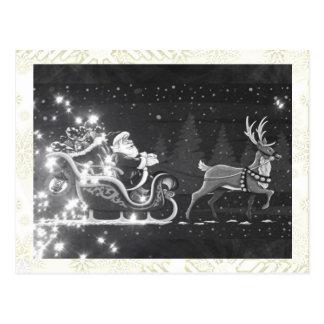 Carte Postale Décor noir et blanc vintage de Père Noël de Noël