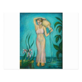 Carte Postale Déesse de Verseau avec Lilly par l'eau