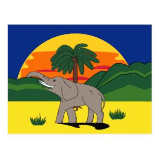 Carte postale d'éléphant et de palmier de la Gold