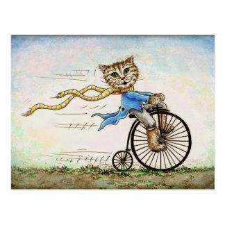 Carte postale démodée de mini d'art bicyclette de