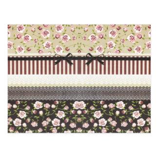 Carte Postale Dentelle blanche Girly élégante et roses roses