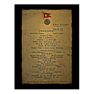Carte Postale Dernier menu RMS Titanic