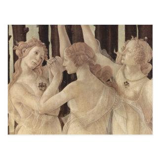 Carte postale des grâces de Botticelli trois