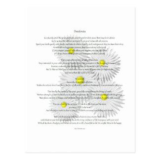 Carte Postale Desiderata avec des marguerites