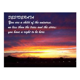 Carte Postale DESIDERATA de coucher du soleil