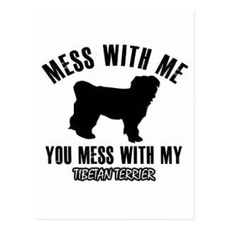 Carte Postale Désordre avec mon Terrier tibétain