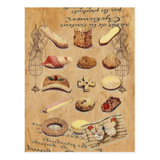 Carte Postale dessert français de gâteau de biscuits de