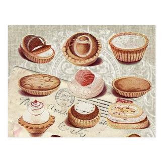 Carte Postale desserts français de pâtisserie de petit gâteau de