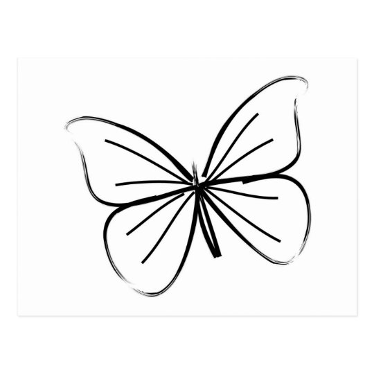 Carte Postale Dessin au trait simple papillon