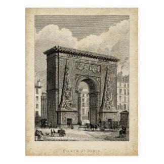 Carte Postale Dessin de monument de Porte Saint-Denis