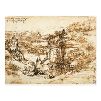 Carte Postale Dessin de paysage de Leonardo Vinci- pour Santa