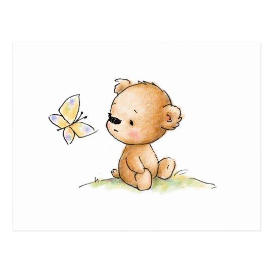 Carte Postale Dessin D Ours De Nounours Mignon Avec Le Papillon Zazzle Fr