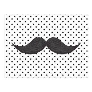 Carte Postale Dessin drôle de moustache et pois noir