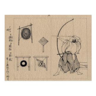 Carte Postale Dessin extraordinaire d'Archer de Japonais circa