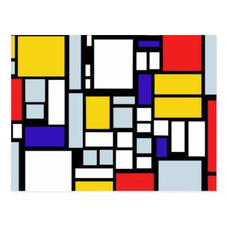 Carte Postale Dessin géométrique moderne, couleurs primaires