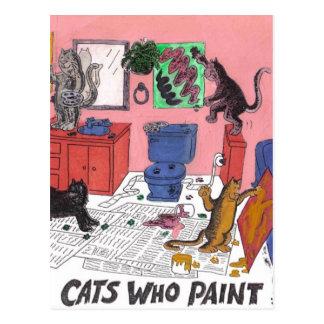 Carte Postale Dessin humoristique de couleur des chats de