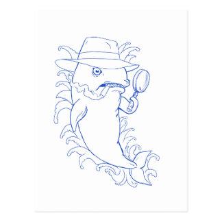 Carte Postale Dessin révélateur d'épaulard d'orque
