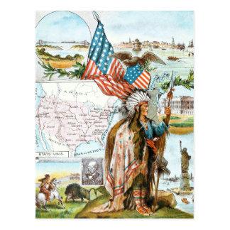 Carte Postale Dessin vintage : Collage des Etats-Unis