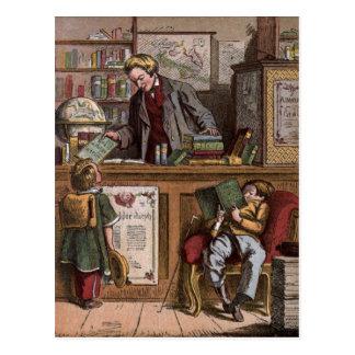 Carte Postale Dessin vintage : La librairie antique