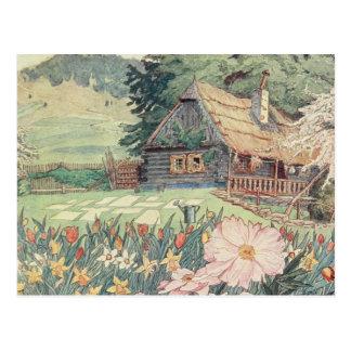 Carte Postale Dessin vintage : Petit cottage de montagne au